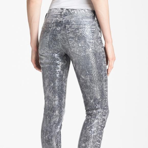 Current/Elliott Mid-Rise Snake Print Jeans Original For Sale zJu5g